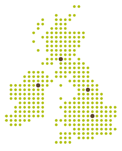 Office location indicators for UK map